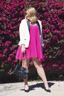 Hot-pink-sanctuary-dress-white-charter-club-blazer