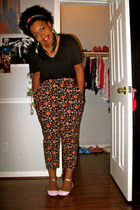 black vneck shirt - head scarf - crazy print pants - feather earrings - pink and