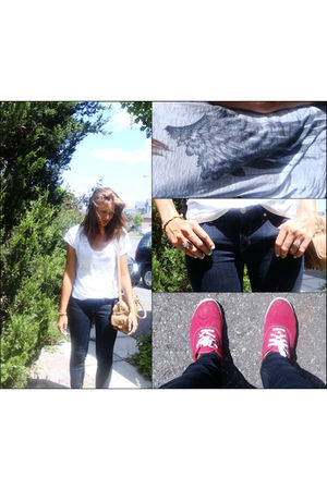 white dirty violet shirt - blue Gap jeans - red Keds shoes - beige Zara bag