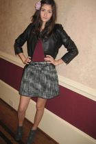 Delias jacket - skirt - boots - JCrew accessories - eurotard top