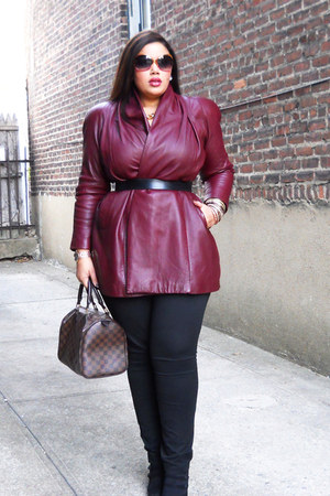 leather jacket thrifted vintage coat