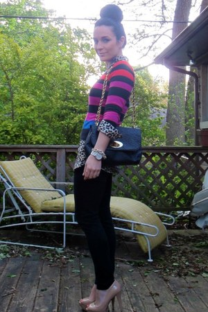 color stipes Old Navy sweater - black skinny H&M jeans - Urban Expressions bag