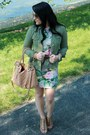 Floral-h-m-dress-brown-kelsi-dagger-shoes-army-green-michael-kors-jacket