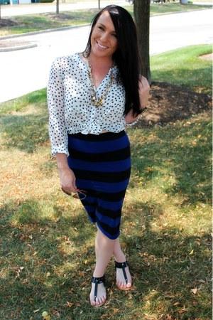 stars Forever 21 blouse - black Zara sandals - striped Forever 21 skirt