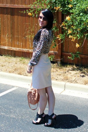 pale pink Zara skirt - quilted TJ Maxx bag - black Zara heels