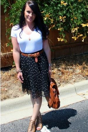polka dot H&M skirt - brown H&M bag - white Target t-shirt - brown thrifted belt