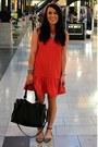 Printed-zara-shoes-drop-waist-topshop-dress-black-forever-21-bag