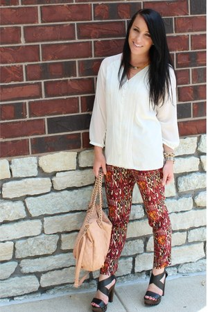printed Zara pants - quilted Urban Expressions bag - strappy Forever 21 heels