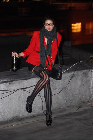 red blazer - black coach purse - black asos shoes - black ami clubwear stockings