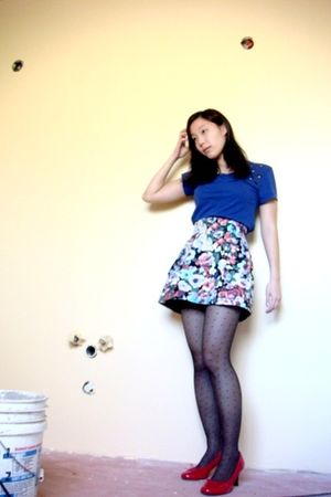 red CL Laundry shoes - gray Forever 21 - blue H&M skirt - blue Forever 21 shirt