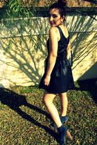 black leather H & M dress - navy lita Jeffrey Campbell boots