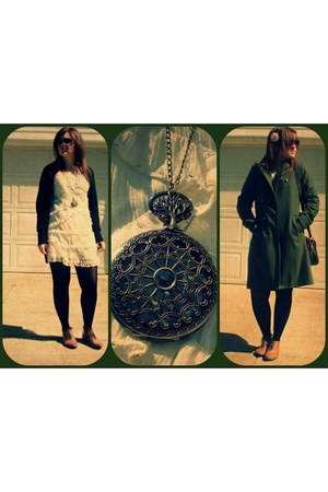 camel tan oxford Forever 21 shoes - ivory cream TJ Max dress - army green Target