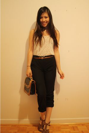 wilfred belt - Aldo shoes - Forever 21 lace top - H&M pants - vintage purse