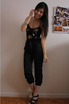 Talula floral bustier top - H&M satin trousers pants - Forever 21 accessories -