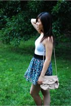 hollister top - forever 21 floral skirt - H&M purse
