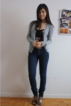 Talula floral bustier top - Talula cardigan - Cheap Monday jeans - Aldo shoes
