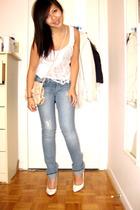 DIY shredded tank shirt - Guess jeans - Aldo shoes - H&M purse - Jacob blazer