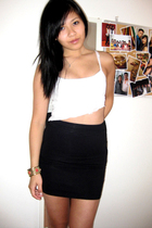 DIY shredded cropped top - Wilfred high-waist skirt - forever 21 accessories - H