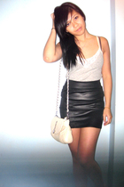 F21 lace tank shirt - forever 21 skirt - Heart charm nude purse
