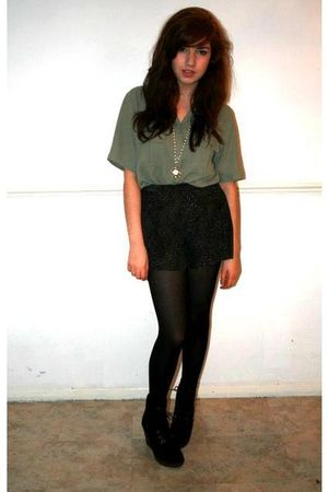 green vintage shirt - green River Island shorts