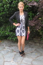 silver H&M dress - black united colors of benetton blazer - black Miss Sixty sho