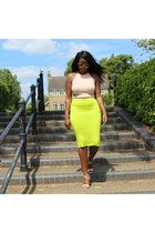 tan soft Missguided top - lime green double jersey Topshop shirt