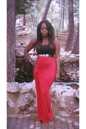 black BCBG shoes - red Primark dress - gold Primark belt - black glasses