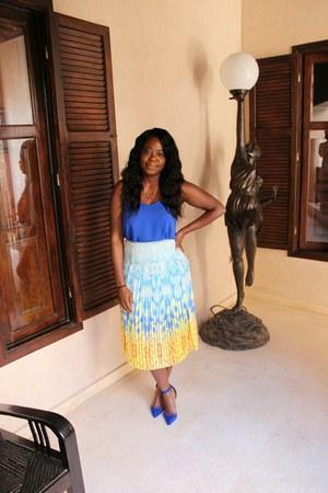 blue Primark shoes - light blue Reiss skirt - blue cami Topshop top