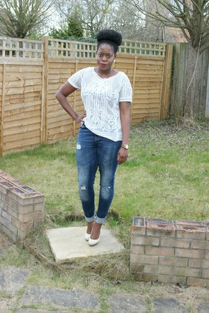 ivory lace new look top - blue Zara jeans - ivory new look heels