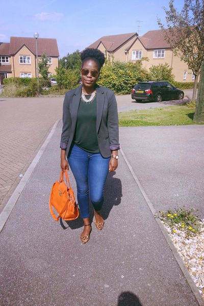 blue Dorothy Perkins jeans - green H&M blazer