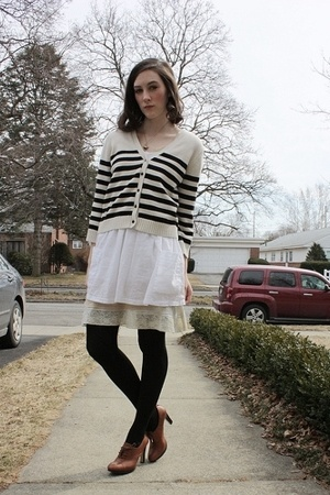 H&amp;M sweater - H&amp;M dress - thrift intimate - Old Navy intimate - Nine West tights