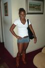 White-t-shirt-blue-shorts-brown-nordstrom-boots-gold-juicy-couture-earring