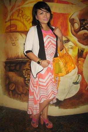 orange ShopLike APrincess shoes - orange Forever 21 dress - orange Parisian bag