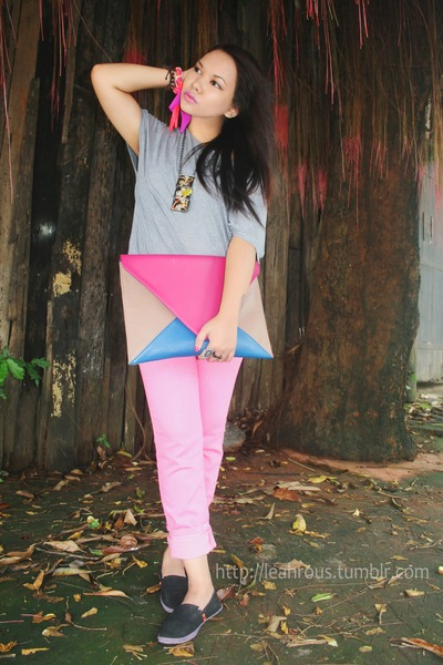 bubble gum fab manila bag - bubble gum human pants - black bench flats