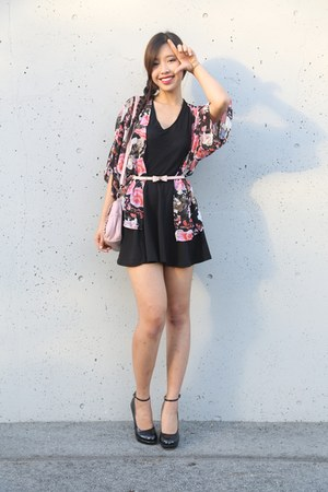 Choies cardigan - Guess heels - Forever 21 belt