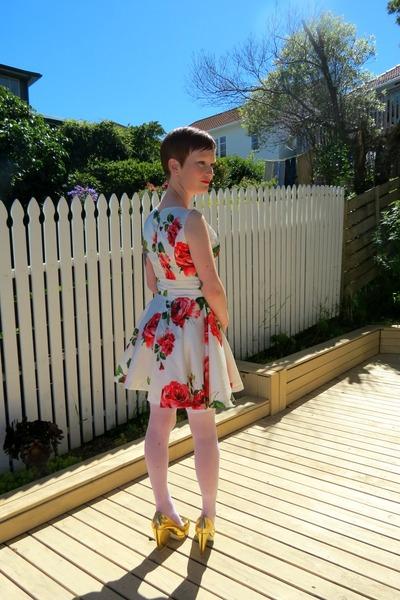ruby red Sheinsidecom dress - gold asos heels - white Ebay stockings