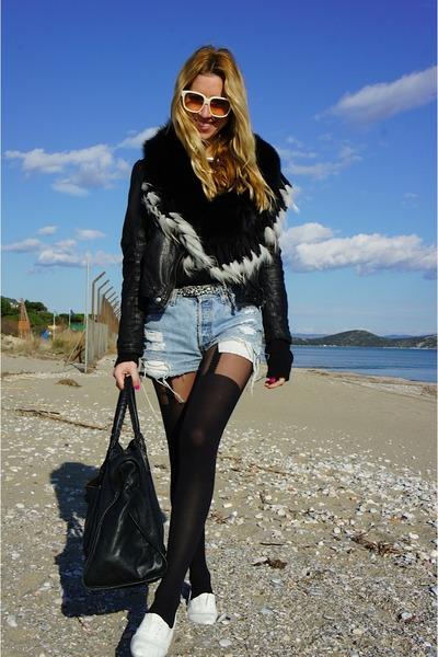 Zara jacket - balenciaga bag - Levis shorts - Primark flats