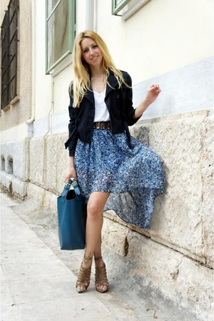 Zara heels - Mango jacket - Zara bag - f21 skirt