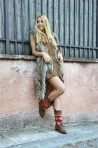 Pull & Bear boots - vintage dress - Zara bag