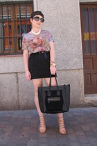 Zara t-shirt - Prada sunglasses - Etsy necklace - hazel heels - asos skirt