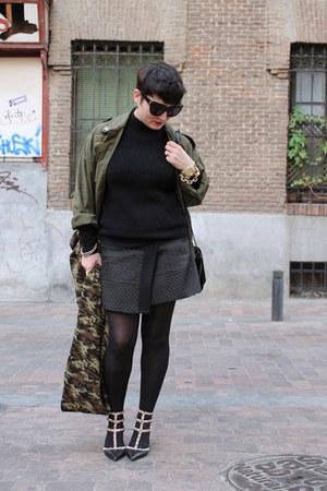 Zara skirt - Hearts and Bows jacket - Zara scarf - COS jumper - Valentino heels