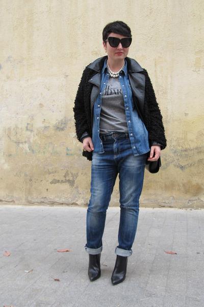 Rodarte t-shirt - Zara boots - River Island coat - Bershka jeans - H&M jacket