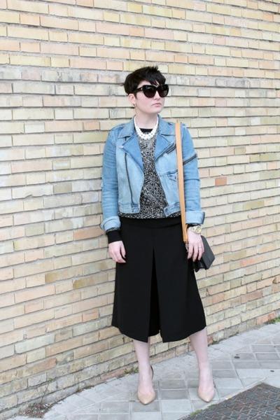 H&M jacket - & other stories bag - Zara sweatshirt - Mango heels - Zara skirt