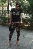 Mango heels - Mischa Barton bag - Cafepress t-shirt - Mango pants