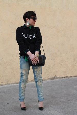 asos shirt - Mango jeans - Zara bag - Sheinside sweatshirt - Zara heels