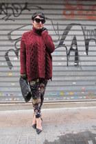 Zara jumper - Mischa Barton bag - Zara gloves - Mango pants - Zara heels