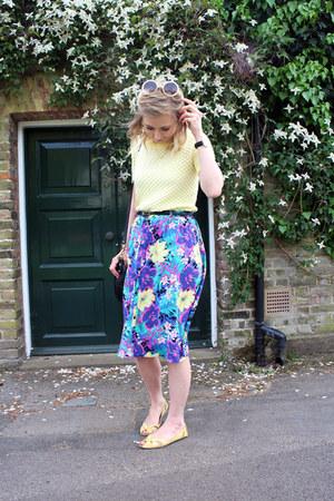 yellow Topshop jumper - midi Primark skirt - yellow Topshop flats