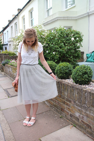tulle midi Topshop skirt - metallic silver Topshop sandals