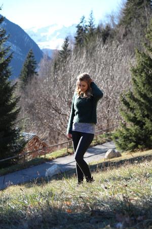 black Topshop jeans - ankle boots Kurt Geiger boots - green Topshop jumper