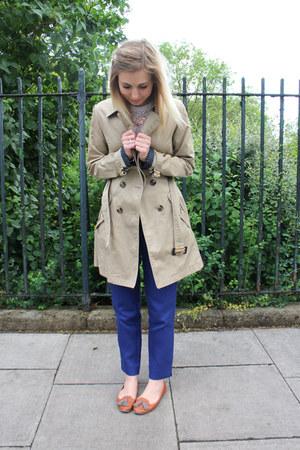 trench Topshop coat - pique jaeger pants - tan Topshop loafers